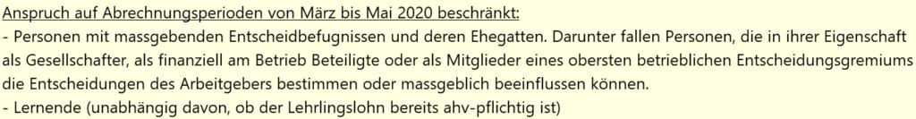 Kurzarbeit Schweiz KAE-Abrechnung anspruchsberechtigte