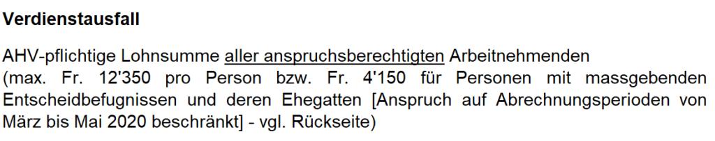 Kurzarbeit Schweiz KAE-Abrechnung Lohnsumme