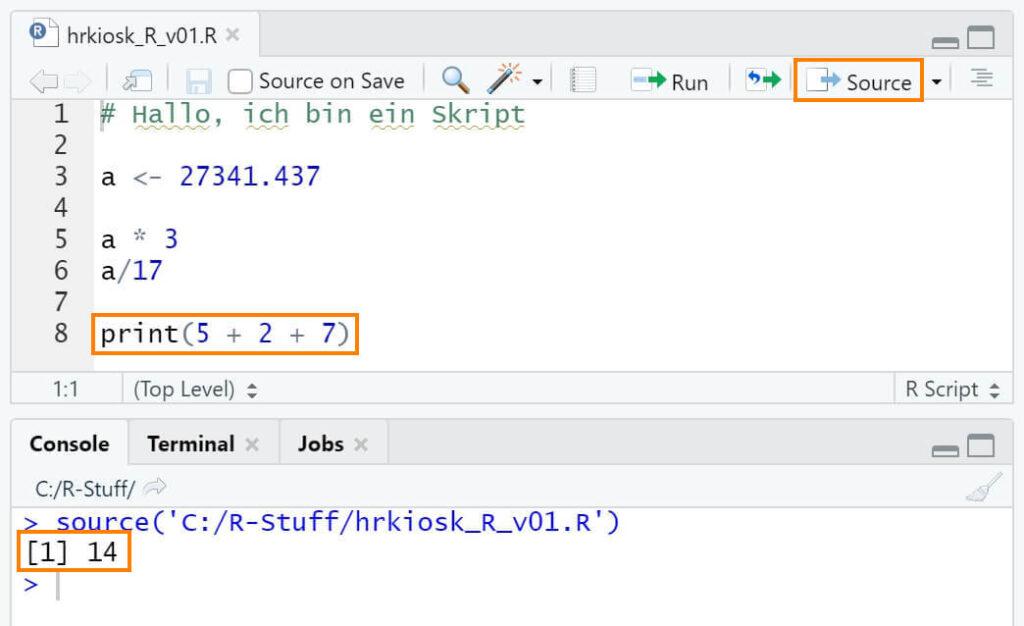 R Skript mit Source-Button